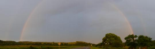 Double rainbow evening
